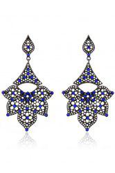 Pair of Stylish Rhinestone Hollow Out Petals Earrings For Women