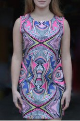 Vintage Geometric Printed Bodycon Mini Dress - COLORMIX