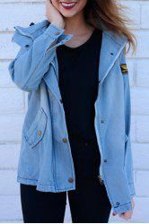 Drawstring Denim Jacket With Hooded Waistcoat -
