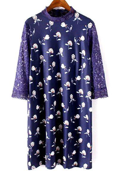 Sale Sweet Stand Neck Lace Sleeve Printed Women's Shift Dress
