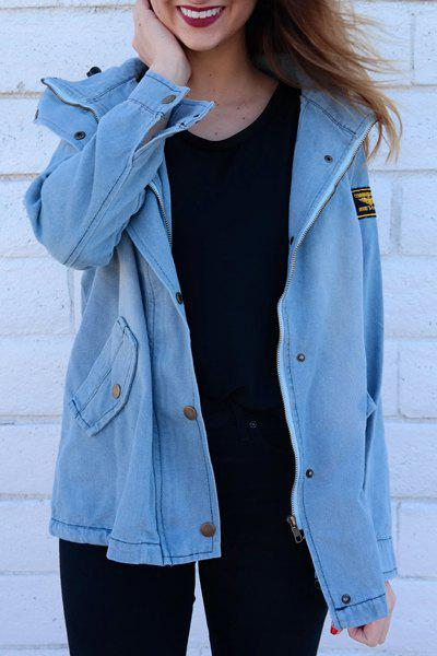 Store Drawstring Denim Jacket With Hooded Waistcoat