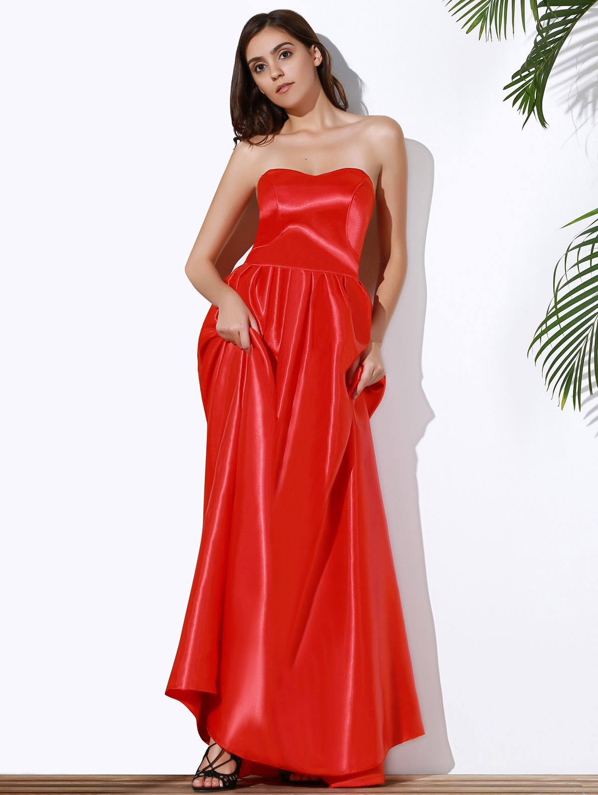 Red S Fashion Strapless Red Maxi Dress For Women | RoseGal.com