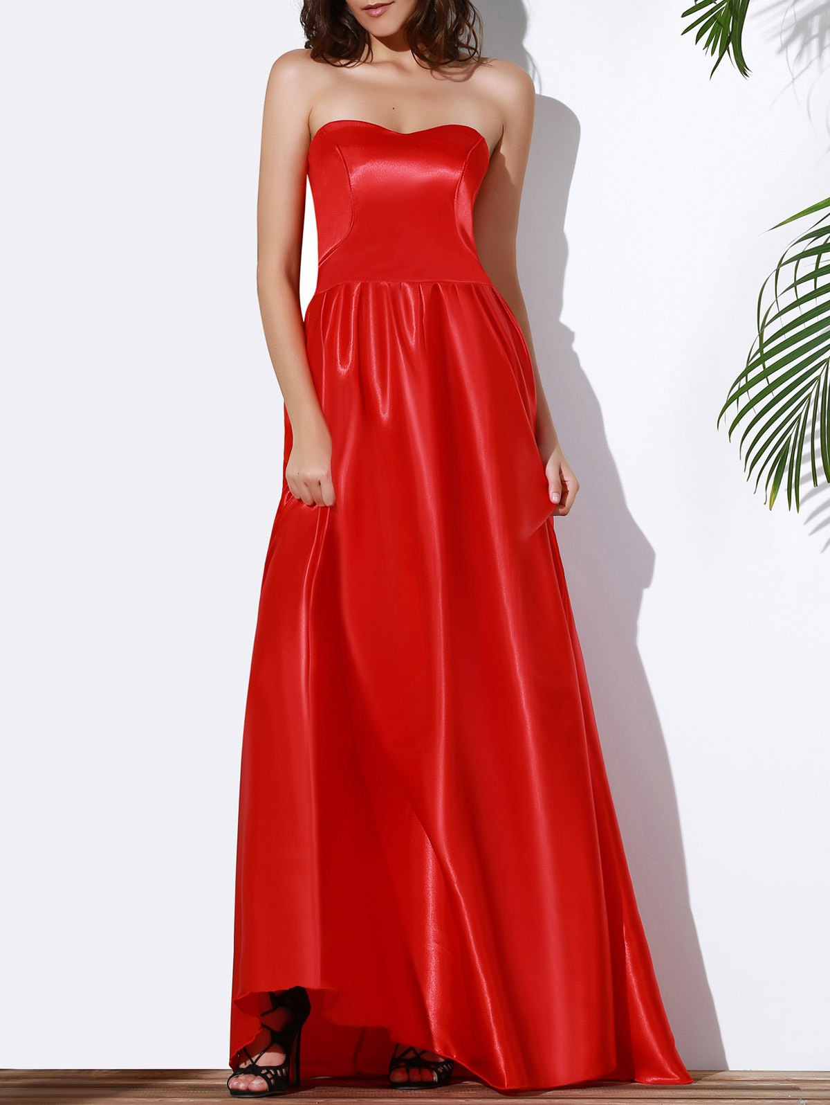2018 Fashion Strapless Red Maxi Dress For Women In Red S ...