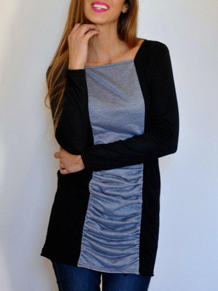 Outfit Casual Square Neck Long Sleeves Color Splicing Pleated Dress For Women