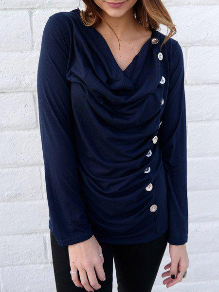 Cheap Vogue Cowl Neck Long Sleeve Button Embellished Blouse For Women