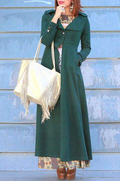 Sale Elegant Solid Color Turn-Down Collar Tunic Maxi Coat For Women