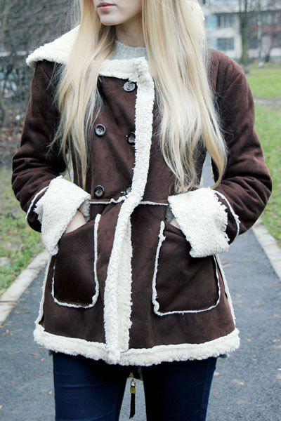 Hooded Faux Shearling  CoatWOMEN<br><br>Size: S; Color: COFFEE; Material: Cotton,Polyester,Faux Leather; Type: Wide-waisted; Shirt Length: Long; Sleeve Length: Full; Collar: Turn-down Collar; Pattern Type: Patchwork; Embellishment: Pockets; Style: Fashion; Weight: 0.613kg; Package Contents: 1 x Coat;