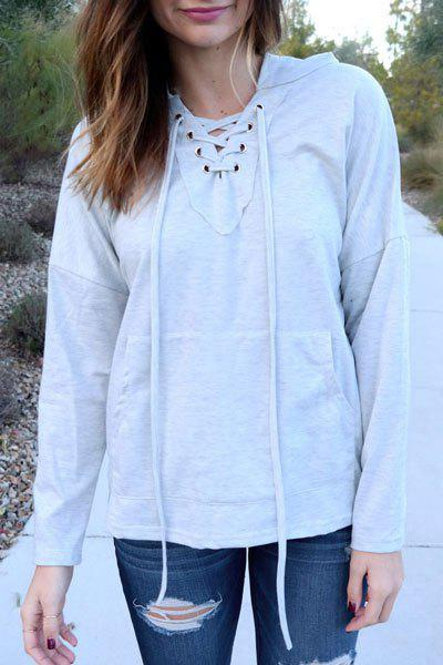 Outfit Stylish Hooded Long Sleeve Lace-Up Solid Color Women's Pullover Hoodie