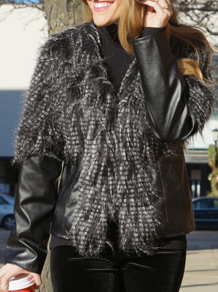 Trendy Faux Fur PU Leather Jacket