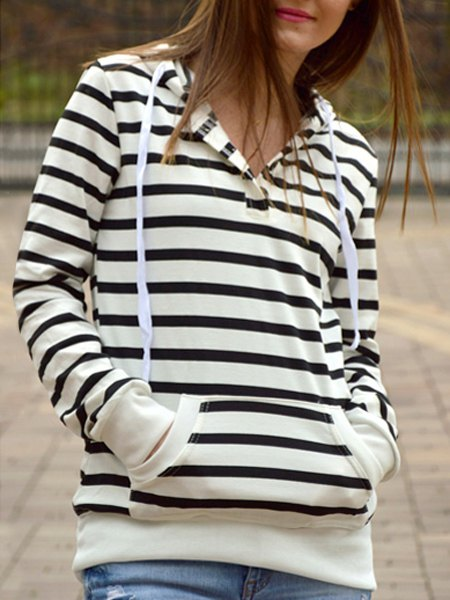 Shops Fashionable Long Sleeves Striped Hoodie For Women