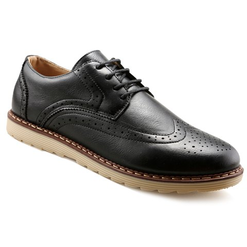Outfits Trendy PU Leather and Engraving Design Formal Shoes For Men