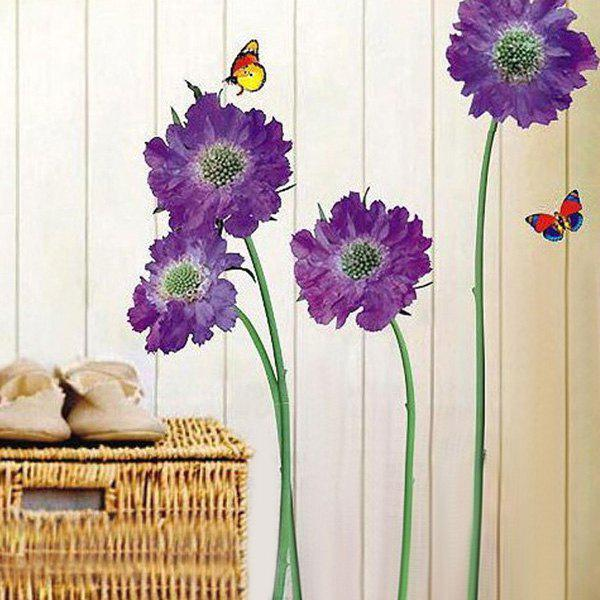 Removable Floral Butterflies Vinyl Wall Art StickersHOME<br><br>Color: PURPLE; Wall Sticker Type: Plane Wall Stickers; Functions: Decorative Wall Stickers; Theme: Animals,Botanical,Florals; Material: PVC; Feature: Removable; Size(L*W)(CM): 45*65CM; Weight: 0.235kg; Package Contents: 1 x Wall Sticker (Set);