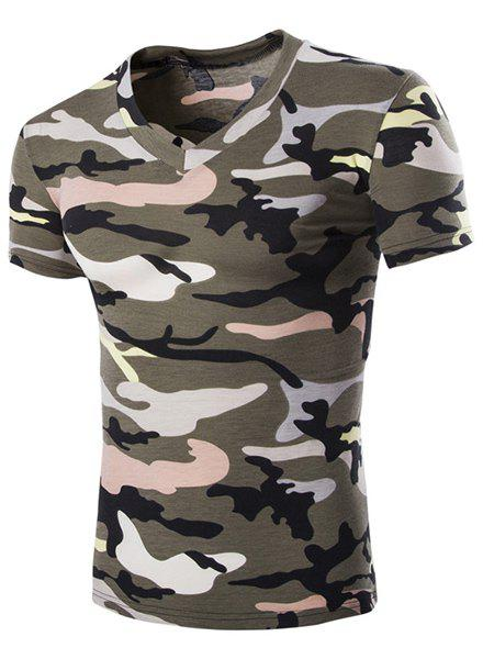 Cheap Camouflage Loose Fit Short Sleeves V-Neck T-Shirt For Men