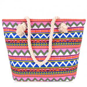 Casual Geometric Pattern and Canvas Design Beach Bag