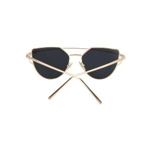 Fashion Metal Bar Golden Frame Pilot Sunglasses For Women - BLACK