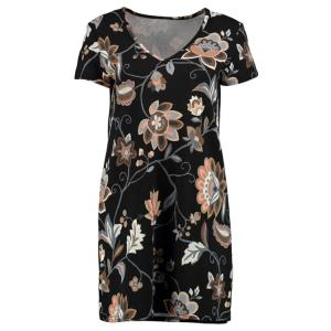 Stylish V-Neck Printed Short Sleeve Dress For Women - Black - L