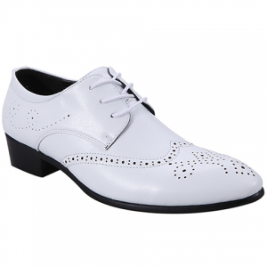 Trendy Wingtip and Lace Up Design Formal Shoes For Men - White - 41