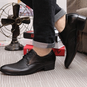 Trendy Wingtip and Lace Up Design Formal Shoes For Men - BLACK 43