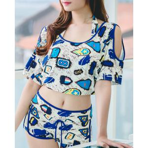Fashionable Halter Push Up Print Three-Piece Swimsuit For Women