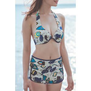 Fashionable Halter Push Up Print Three-Piece Swimsuit For Women - BLUE L