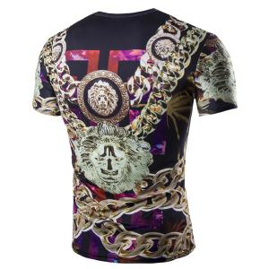 Casual 3D Chain Printed Short Sleeves Round Neck T-Shirt For Men -