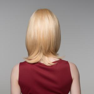 Trendy Medium Side Bang Noble Straight Tail Adduction Capless Human Hair Wig For Women -