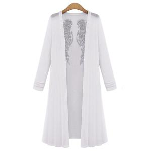 Long Sleeve Rhinestoned Plus Size Long Duster Cardigan - White - 5xl