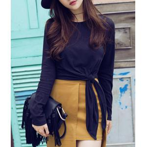 Chic Round Collar Long Sleeve Asymmetrical T-Shirt For Women -