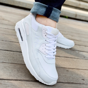 Simple PU Leather and Lace-Up Design Sneakers For Women -