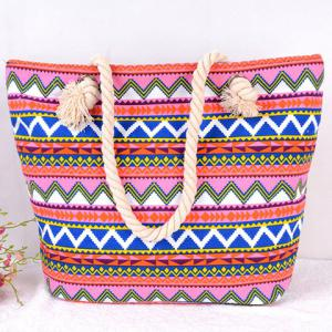 Casual Geometric Pattern and Canvas Design Beach Bag - RED