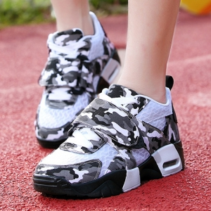 Trendy Camouflage and Lace-Up Design Sneakers For Women -
