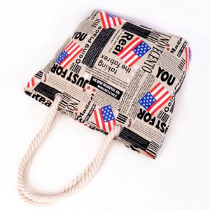 Casual American Flag and Canvas Design Shoulder Bag For Women -