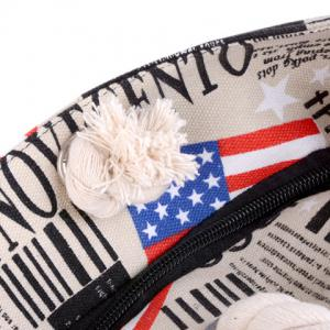 Casual American Flag and Canvas Design Shoulder Bag For Women - LIGHT KHAKI