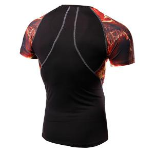 Round Neck Wing Print Splicing Design Short Sleeve Fitted T-Shirt For Men -