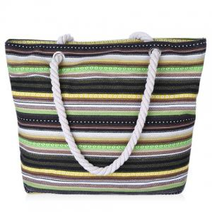 Leisure Canvas and Colour Block Design Shoulder Beach Bag