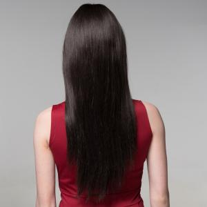 Graceful Long Capless Fashion Silky Straight Side Bang Real Human Hair Wig For Women -