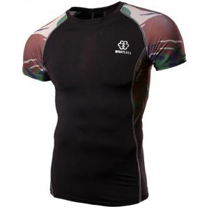 Camo Stripes Round Neck Short Sleeves Sweat Dry Tight T-Shirt For Men - BLACK L