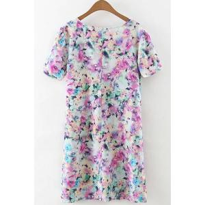 Refreshing Round Collar Tiny Floral Print Short Sleeve Dress For Women -