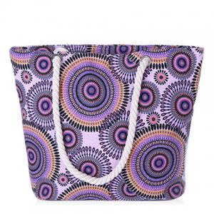 Casual Multicolor and Circle Pattern Design Shoulder Bag For Women - Purple