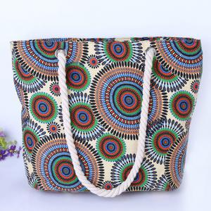 Casual Multicolor and Circle Pattern Design Shoulder Bag For Women - CYAN