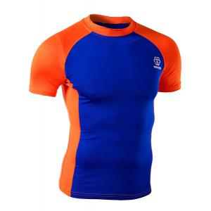 Summer Round Neck Color Spliced Short Sleeves Sweat Dry Tight T-Shirt For Men - Orange - 2xl
