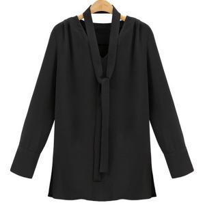 Stylish V-Neck Long Sleeve Plus Size Blouse For Women