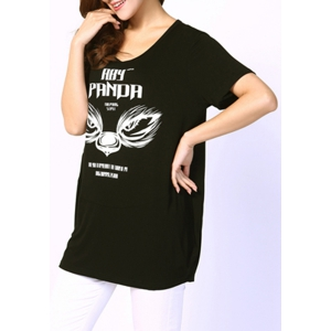 Casual Style Scoop Neck Short Sleeve Letter Print Plus Size T-Shirt For Women -