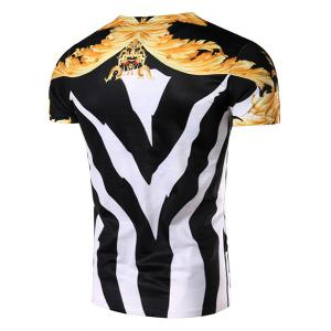 3D Color Block Abstract Printed Round Neck Short Sleeve T-Shirt For Men - COLORMIX L