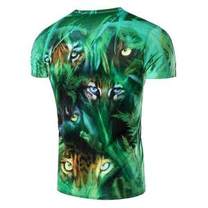 3D Jungle and Leopard Printed Round Neck Short Sleeve T-Shirt For Men -