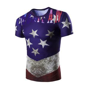 3D Stars Printed Round Neck Short Sleeve T-Shirt For Men