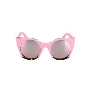 Fashion Round Lenses Color Block Cat Eye Sunglasses For Women -