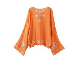 Casual Open Front Kimono Sleeve Embroidered Women's Blouse -