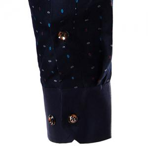 Turn-Down Collar Colorful Polka Dot Print Long Sleeve Shirt For Men -