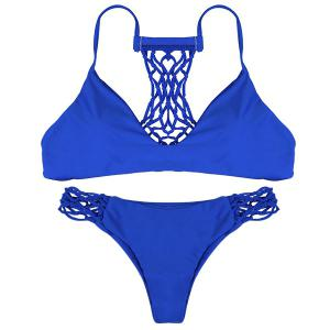 Sexy Spaghetti Strap Hollow Out Solid Color Women's Bikini Set